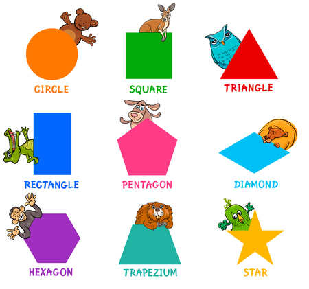Shape recognition learning activity for kids. Stock Illustratie