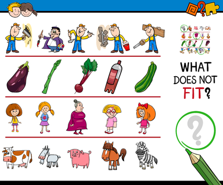 Cartoon Illustration of Finding Picture that does not Fit with the Rest in a Row Educational Game with People and Animal Characters