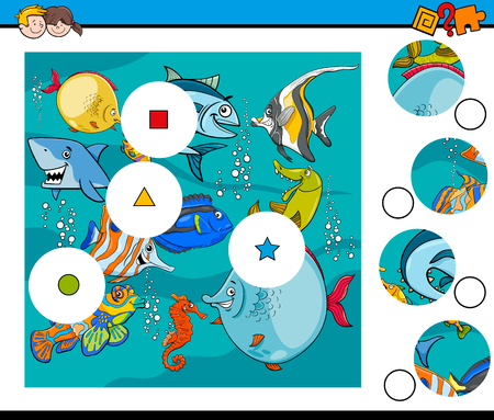 Cartoon Illustration of Educational Match the Pieces Jigsaw Puzzle Game for Children with Fish Animal Characters Illustration