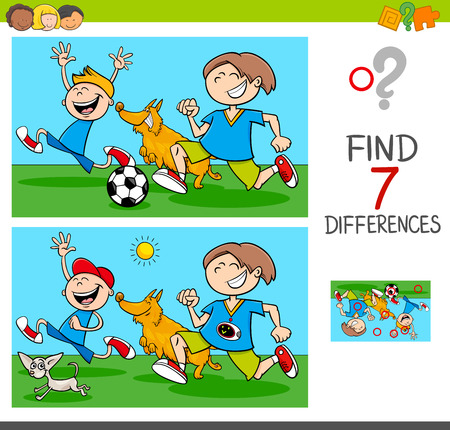 Cartoon Illustration of Finding Differences Between Pictures Educational Activity Game with Funny Playful Children Characters with Dogs Illustration