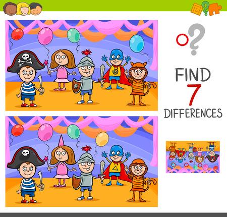 Illustration de dessin animé de trouver des différences entre les images Jeu d'activité éducative avec des personnages des enfants ludiques sur la balle masquée Banque d'images - 89883252