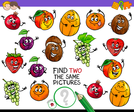 Cartoon Illustration of Finding Two Identical Pictures Educational Game for Children with Fruits Comic Characters Vectores