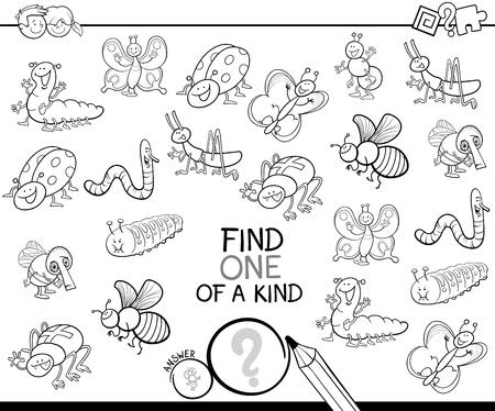 Zwart-wit Cartoon Illustratie van Find One of a Kind Educatief Activiteitenspel voor kinderen met insecten Animal Characters Coloring Book