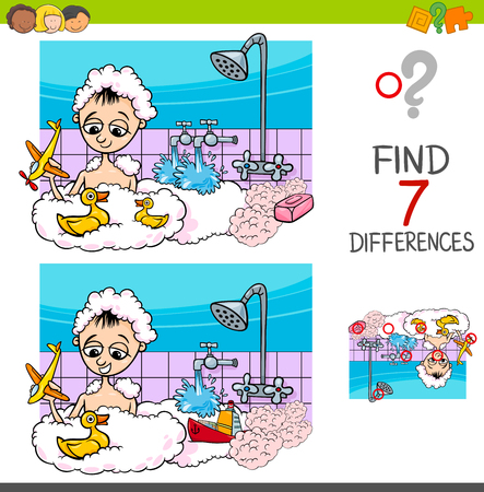 Cartoon Illustration of Finding Differences Between Pictures Educational Activity Game with Boy Character Playing in the Bath