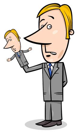 Illustrazione del fumetto del concetto dell'uomo d'affari del burattinaio con il burattino di mano