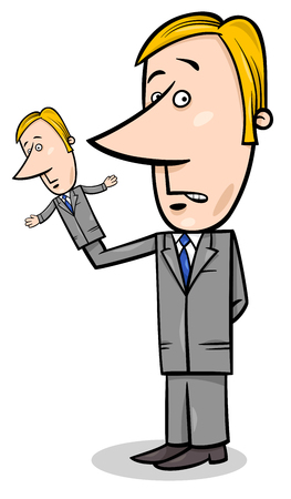 Concept Cartoon Illustration of Puppeteer Businessman with Hand Puppet