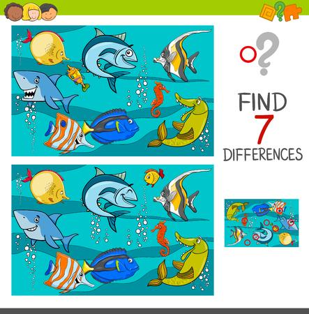 Ilustracja kreskówka znalezienie różnic między obrazkami gra edukacyjna z postaciami zwierząt ryb w morzu
