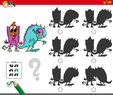 Cartoon Illustration of Finding the Shadow without Differences Educational Activity for Children with Funny Monster Characters