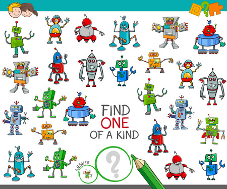 Cartoon Illustration of Find One of a Kind Educational Activity Game for Children with Robots Science Fiction Characters Ilustração