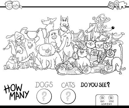 Black and White Cartoon Illustration of Educational Counting Game for Children with Dogs and Cats Animal Characters Group Coloring Book Vettoriali