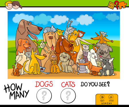 Cartoon Illustration of Educational Counting Game for Children with Dogs and Cats Animal Characters Ilustração