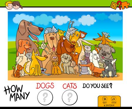 Ilustración de dibujos animados del juego de conteo educativo para niños con perros y gatos Personajes de animales Ilustración de vector