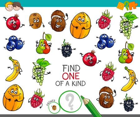 Cartoon Illustration of Find One of a Kind Educational Activity Game for Children with Fruits Comic Characters