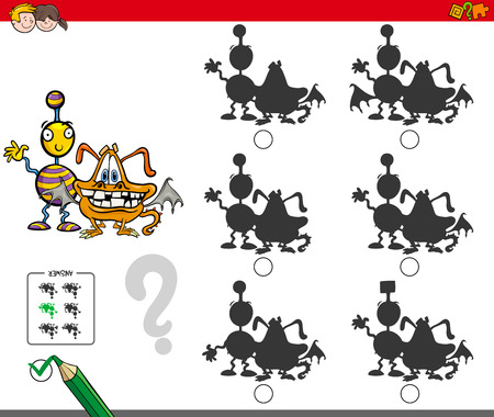 Cartoon Illustration of Finding the Shadow without Differences Educational Activity for Children with Comic Monster Characters Иллюстрация