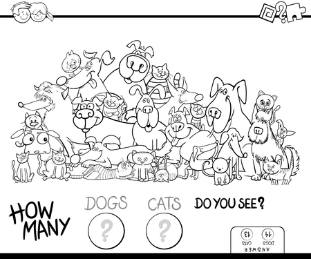 Black and White Cartoon Illustration of Educational Counting Game for Children with Cats and Dogs Animal Characters Group Coloring Book Vectores