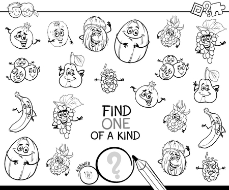 Black and White Cartoon Illustration of Find One of a Kind Educational Activity Game for Children with Fruits Comic Characters Coloring Book