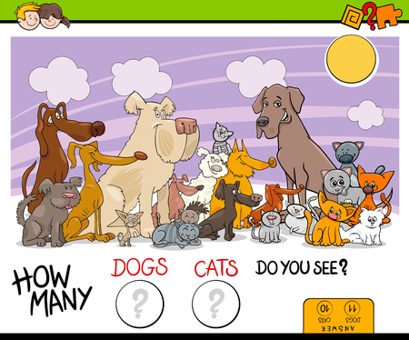 Cartoon Illustration of Educational Counting Game for Children with Cats and Dogs Animal Characters Group