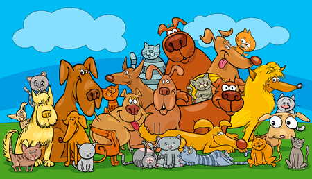 Cartoon illustration of dogs and cats. Animal pet characters group.