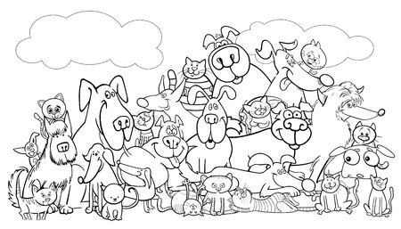 Black and white cartoon illustration of dogs and cats. Animal comic characters group. Coloring book, vector illustration.