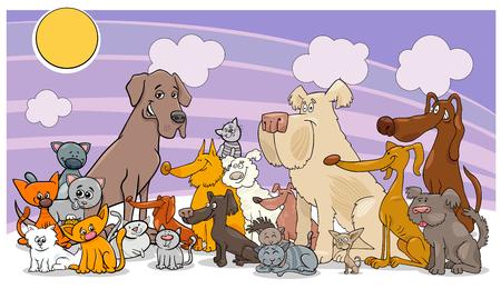犬と猫の漫画イラスト。動物ペット文字グループ。
