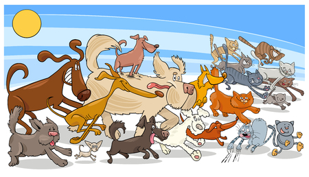 Cartoon Illustration of Funny Running Dogs and Cats Animal Characters Group