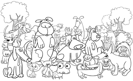 Black and White Cartoon Illustration of Dogs and Cats Animal Funny Characters Group Coloring Book Stok Fotoğraf - 90752591
