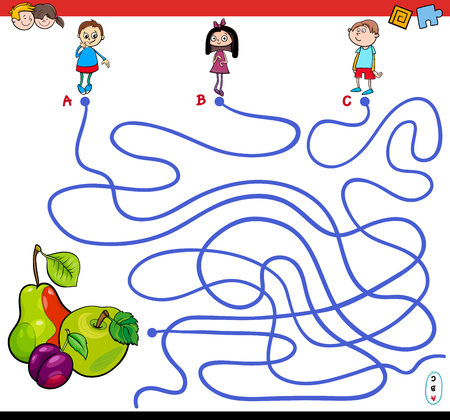 Cartoon Illustration of Paths or Maze Puzzle Activity Game with Children Characters and Fresh Fruits