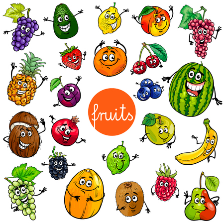 Cartoon Illustration of Fruits Comic Food Characters Big Set Vettoriali