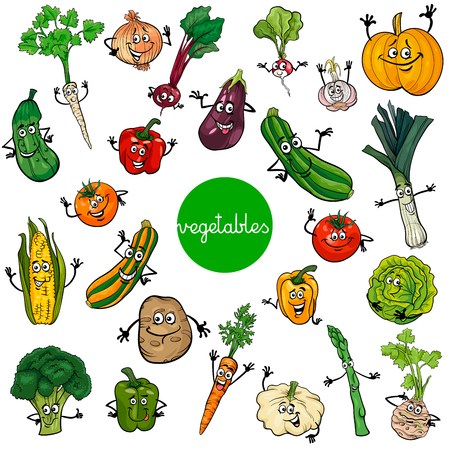 Cartoon Illustration of Vegetables Comic Food Characters Big Set Çizim