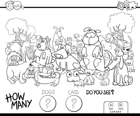 Educational counting game for children with cats and dogs animal characters group in the park coloring book Ilustrace