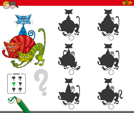 Cartoon Illustration of Finding the Shadow without Differences. Educational Activity for Children with Cats. Animal Characters