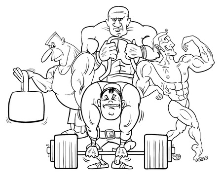 Black and White Coloring Book Cartoon Illustration of Muscular Men or Athletes at the Gym Vettoriali