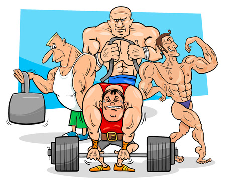 Cartoon Illustration of Muscular Men or Athletes at the Gym.