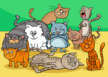 Cartoon Illustration of Funny Cats or Kittens Animal Characters Group