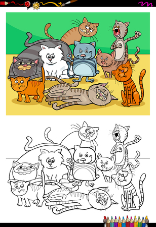 Cartoon Illustration of Cats and Kittens Animal Characters Group Coloring Book Activity Illustration