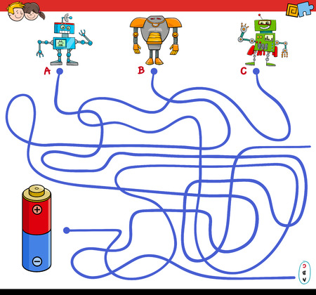 Cartoon Illustration of Paths or Maze Puzzle Activity Game with Robot Characters and Battery