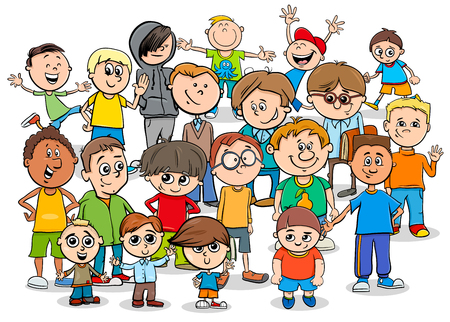小学生の子供の男の子やティーンエイジャーのキャラクターグループの漫画のイラスト