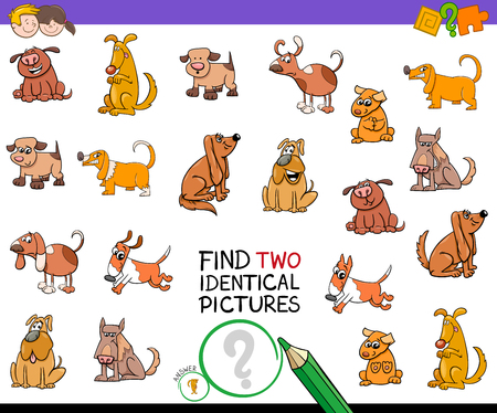Cartoon Illustration of Finding Two Identical Pictures Educational Activity Game for Children with Comic Dog Characters.