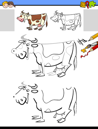 Cartoon Illustration of Drawing and Coloring Educational Activity for Children with Milker Cow Farm Animal Character