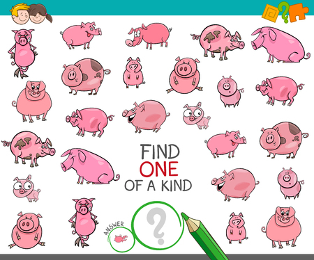 Cartoon Illustration of Find One of a Kind Picture Educational Activity Game for Children with Pig and Piglet Characters Ilustração