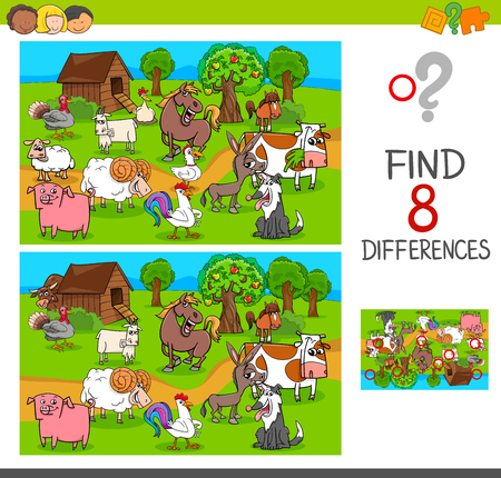 Cartoon Illustration of Find One of a Kind Picture Educational Activity Game Çizim