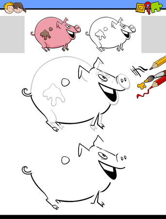 Cartoon Illustration of Drawing and Coloring Educational Activity for Children with Milker Pig Farm Animal Character Illustration