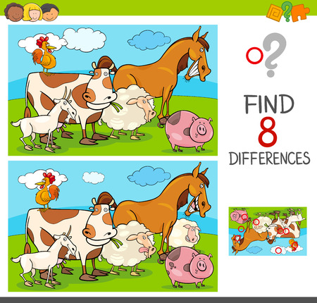 Cartoon Illustration of Finding Differences Between Two Pictures Educational Activity Game for Kids with Farm Animal Characters Group