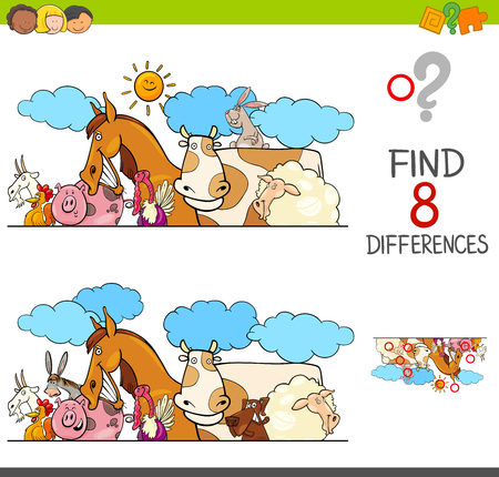 Cartoon illustration of kids learning activity game.