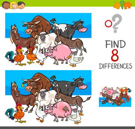 Cartoon illustration of kids learning activity game.