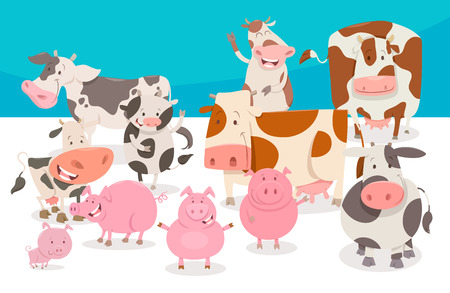 Cartoon Illustration of Cute Cows and Pigs Illustration