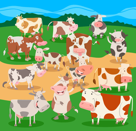 Cartoon Illustration of Funny Cows