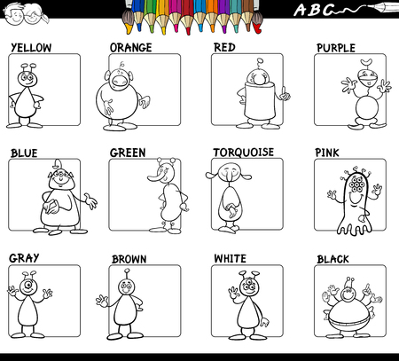 Black and white cartoon illustration of basic colors educational workbook set for children with aliens comic characters. Illustration