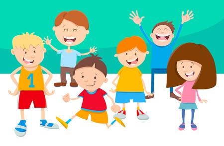 Cartoon illustration of funny children characters set.