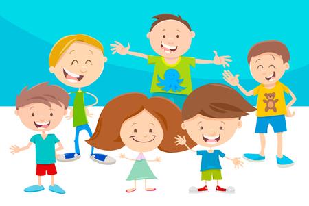 Ilustración De Dibujos Animados De Niños En Edad Escolar Primaria O
